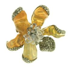 """Arunashi  """"Wild Orchid"""" 18k gold ring with petals made out of naturally shaped fire opal, sapphire briolettes, and champagne diamonds"""