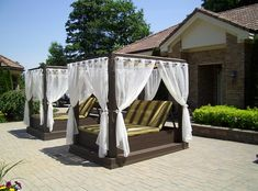 Twin poolside canopy beds help beat the summer heat homesthetics Stylish and Fashionable Outdoor Beds For The Ultimate Backyard Lounge Ikea Canopy, Canopy Curtains, Canopy Bedroom, Diy Canopy, Canopy Tent, Window Canopy, Fabric Canopy, Outdoor Beds, Swimming Pools