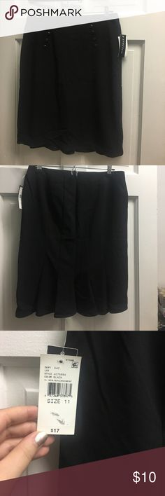 Black pencil skirt with ruffled back hem Black pencil skirt with ruffled back hem and button detailing at waist. B Wear Byer California. Size 11. Never worn NEW WITH TAGS! B Wear Skirts Pencil