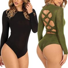 Women Sexy Caged Back Long Sleeve Basic Romper