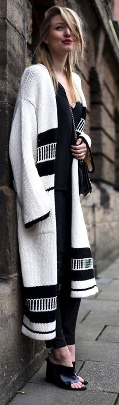 Black and White Aztec knit Cardigan www.ohhcouture.com