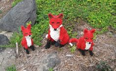 Legos in the garden - adorable!  I have a fox statue in my garden, but these add a great pop of color!  Maybe I can talk Erin into some lego building?!