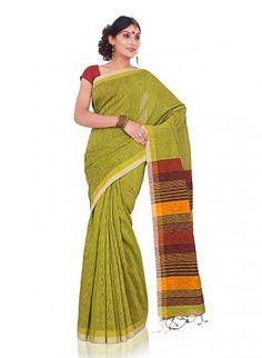 Light Green Bengal Cotton Saree