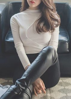 Solid White Mock Neck Long Sleeve T Shirt on sale only US$27.79 now, buy cheap Solid White Mock Neck Long Sleeve T Shirt at lulugal.com