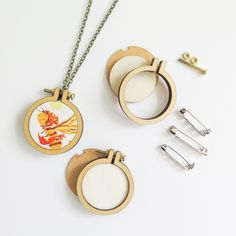 """1.6"""" Mini Embroidery Hoop Necklace and Brooch Kit (3 Pack)"""