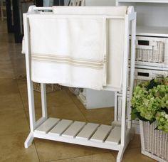 Towel Rack Freestanding white wooden towel rack – wide x high Free Standing Towel Rail, Wooden Towel Rail, Bath Towel Racks, Tree Furniture, Bathroom Inspiration, Decorative Accessories, Repurposed, New Homes, Diy Projects