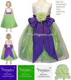 Pegeen Dress Dreamer virtual closet styled with Antique White, Royal Purple, Grass Green with Debbie Rose and V-Back Color and Style options: http://www.pegeen.com/flower-girl-dress-style-359.html  PEGEEN Dress Dreamer Virtual Dressing Room. Change color and style option in real time. http://www.pegeen.com/icloset #dressdreamer