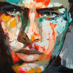 Françoise Nielly's colorful portrait painting is expressive, exhibiting a brute force, a fascinating vital energy. Even more wonderful – and particularly infuriating to those of us who have timidly dabbled in painting – is to watch her create them. In a beautiful video posted on her site, she, in her confident, strong hand, wields her painting knife shaped like a miniature garden trowel, and makes painting look easy like cake frosting.