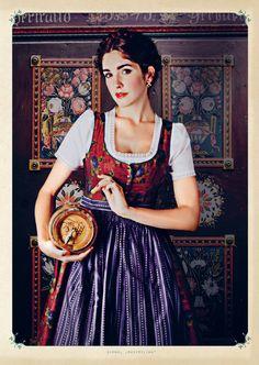 Love the elegant fabric used on the bodice of this dirndl costume. #dirndl #dress #folk #costume #German #clothing #braids