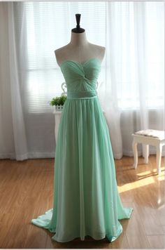 Strapless Sweetheart Mint Blue Chiffon Dress by wonderxue, $150.00
