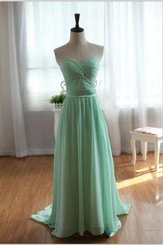 Strapless Sweetheart Mint Blue Chiffon Prom Dress by wonderxue, $150.00  This dress is sooooo pretty