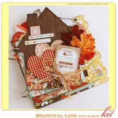 Bountiful Love Mini Album Kit, complete with instructions, by PaisleysandPolkaDots.com for a limited time featured at www.scrapclubs.com