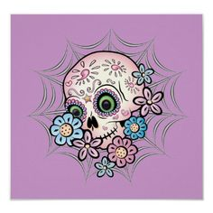 Shop Sweet Sugar Skull Poster created by Personalize it with photos & text or purchase as is! Dog Skull, Sugar Skull Cat, Sugar Skulls, Day Of The Dead Skull Tattoo, Evil Skull Tattoo, Skull Tattoos, Sugar Skull Artwork, Skull Stencil, Day Of The Dead Art