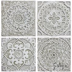 4 Mandala Wall Hangings Made From Ceramic Set of 4 Mandala Wall Art... ($305) ❤ liked on Polyvore featuring home, home decor, wall art, home & living, home décor, silver, wall décor, wall hangings, inspirational wall art and photo wall art