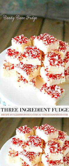 Christmas Recipes - This is a Three Ingredient Recipe! Make this Candy Cane Fudge Recipe for your Christmas Parties, neighbor gifts, or simply share it with your family and friends. Such an easy recipe and super delicious! PIN IT NOW and make it later!