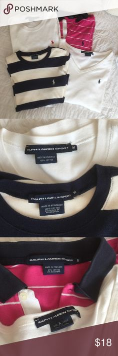 Ralph Lauren Sport Shirts Bundle Bundle of 4 RL shirts. One small pink striped shirt sleeve polo, one med. white short sleeve, one med. blue striped shirt sleeve, and one lg. Long sleeve.  If you are a size sm/md all 4 should fit.  All have no stains or holes. Ralph Lauren Tops Tees - Short Sleeve