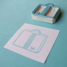 On my 'to make' list: a suitcase stamp. Bon Voyage Heart Suitcase - Hand Carved Rubber Stamp