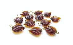 Smoky Topaz Brown Glass Birch Leaf with Brass by TheDutchTulip (Craft Supplies & Tools, Jewelry & Beading Supplies, Beads, Flower, Leaf & Plant Beads, glass, birch, leaf, leaves, textured, 3d, grass, nature, jewelry supply, translucent, brown, topaz)