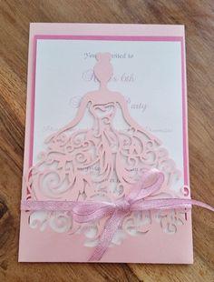 Pretty Pink Princess laser cut Birthday Invitation Card with hand tied bow Cricut Invitations, Quince Invitations, Princess Invitations, Sweet 16 Invitations, Birthday Invitations Kids, Invitation Cards, Wedding Invitations, Masquerade Invitations, Invites