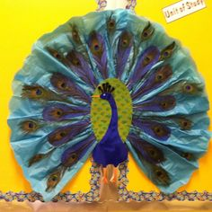 peacock classroom theme Proud Peacock bulletin board Peacock Room, Peacock Decor, Peacock Theme, Classroom Bulletin Boards, Classroom Door, Classroom Themes, Class Decoration, School Decorations, Turkey Disguise