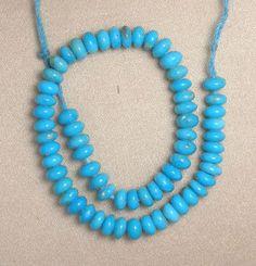 "Sleeping Beauty Turquoise 4.5mm Rondelle Gemstone Beads Blue 6"" Std Jewelry 323 #SleepingBeauty #Southwest"