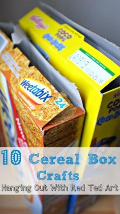 10 Cereal Box Crafts - fun and versatile - check out what these crafty bloggers have to share.