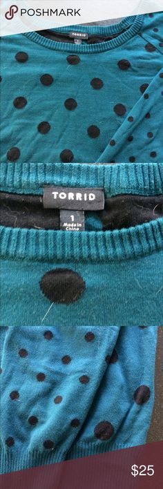 Polka Dot Sweater Teal and black polka dot sweater. Long sleeved. Polka dots on sleeves are smaller than those on torso. In excellent condition. Super soft and comfy. Torrid brand, Size 1x (14-16) torrid Sweaters Crew & Scoop Necks