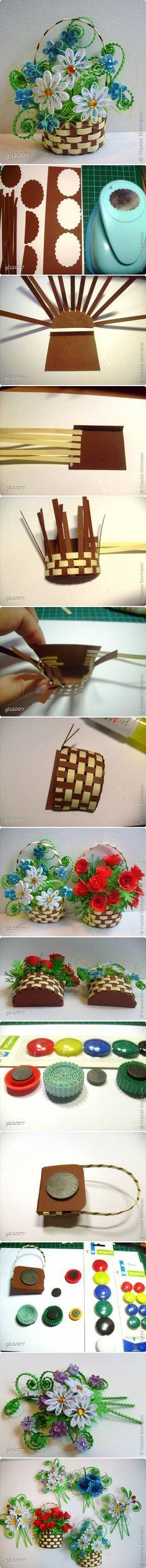 DIY Woven Paper Flower Basket 2