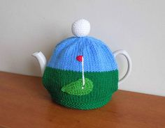 Hand Knitted golf tea cosy for your 4-6 cup by CraftyCornishMaids