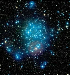 Messier 50 cluster. Blue stars are very young but die quickly and will leave the fainter to out live them- there's a proverb in there somewhere.
