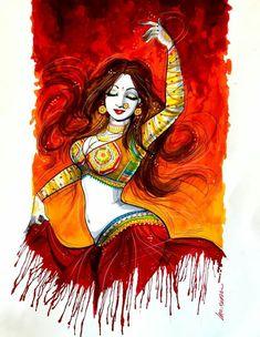 Dance Paintings, Indian Art Paintings, Modern Art Paintings, Deep Paintings, Art Sketches, Art Drawings, Om Art, Indian Art Gallery, Sexy Painting