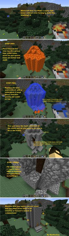 I found an easy way to build a tower in Minecraft that involves hardly any effort! It's like a Minecraft life hack!<<< this is awesome Minecraft Plans, Minecraft Tutorial, Minecraft Blueprints, Cool Minecraft, How To Play Minecraft, Minecraft Memes, Minecraft Crafts, Minecraft Tips And Tricks, Minecraft Circles