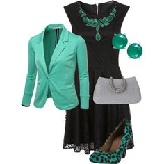 Black & Green Evening Outfit