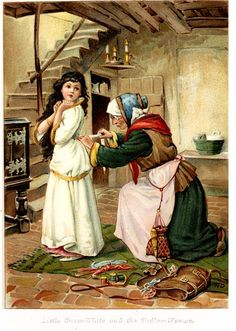 Snow White illustration from old Grimm's Fairy Tales book
