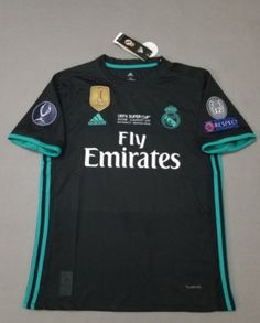 95d2d9dcd  JOE  Adult Real Madrid Away Black Climacool Fans Version Jersey 2017 18  UEFA SUPER CUP with champions 4 printing