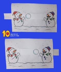 Snowmen Playing With a Snowball - Bastel-Ideen Winter Crafts For Kids, Winter Kids, Winter Art, Winter Theme, Diy For Kids, New Year's Crafts, Paper Crafts, Winter Activities, Activities For Kids