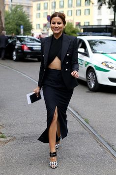 Christine Centenera 2013 street style in a Balenciaga crop top, high wiasted slit skirt and Balmain blazer 2