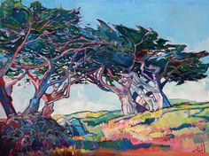 Pebble Beach cypress tree landscape painting by Erin Hanson