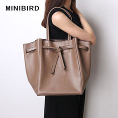 Lady Casual Totes Shoulder Bags Women Luxury Handbags High Capacity Quality Cowhide Genuine Leather Tie Knot Design Shopping Bag