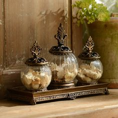 Add a taste of New Orleans to your decor with this classy fleur-de-lis potpourri jar. Crafted of resin and glass, this potpourri jar is a charming container. Warm Home Decor, Cheap Home Decor, Glass Canisters, Glass Jars, Tuscan Bathroom, Tuscany Decor, Kirkland Home Decor, World Decor, Mediterranean Home Decor