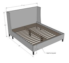 Wooden California King Bed Frame Plans DIY blueprints California king bed frame plans Yah How to Build a Custom King Bed Frame via The largest collection of interior design and decorating ideas on Diy King Bed Frame, Bed Frame Plans, King Size Bed Frame, Bed Plans, White Upholstered Bed, White Headboard, Bed Frame And Headboard, Headboards For Beds, Diy Upholstered Headboard