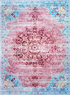 Two of our favorite colors! This is Rugs USA's Pacifica TW05 Vintage Cathedral Medallion Rug!