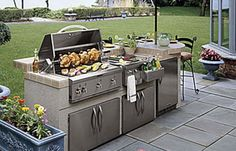 If you've got some basic skills and a couple of handy friends, you can build a grill island like ours in a few weekends. Learn how to build your own outdoor kitchen at This Old House. Build Outdoor Kitchen, Patio Kitchen, Outdoor Kitchens, Backyard Projects, Backyard Patio, Kitchen Dubai, Mansion Kitchen, Grill Island, Luxury Kitchen Design