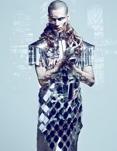 Male model wearing a futuristic mirrored tile outfit Space Fashion, Fashion Art, Mens Fashion, Fashion Designer, Dark Beauty Magazine, Samurai, Male Model, Red Queen, How To Pose