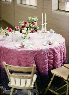 Love this unique #ombre table cloth...perfect for a super romantic wedding!  From http://weddingchicks.com/2012/06/13/purple-ombre-wedding-ideas/  Event Design: http://adornedeventdesign.com/ Photo Credit: http://heatherhesterphotography.com/