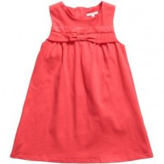 CHLOE  GIRLS CORAL PINK JERSEY DRESS WITH PLEATED BOW