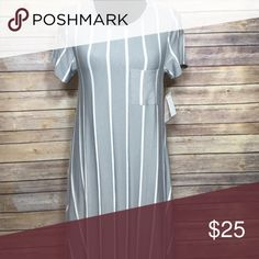 LuLaRoe Carly New with tags, grey and white vertical striped LuLaRoe Carly dress with hi-low hemline. No trades but open to reasonable offers! LuLaRoe Dresses