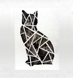Geometric Black Cat Original Watercolor Painting