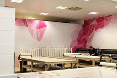 www.vinylimpression.co.uk Bespoke large format printed wall mural design for office interior design and fit out branding projects