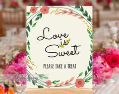Love is sweet sign printable 8x10 Wedding sign Love by deardeary